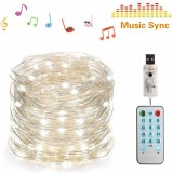 SKYFIRE 50/100 LEDs Music Fairy String Light Silver Wire Twinkle Starry Lights with Remote Control Timer 32.8ft USB Powered Sound Activated LED Lights Holiday Lighting for Christmas Tree Wedding Party Bedroom