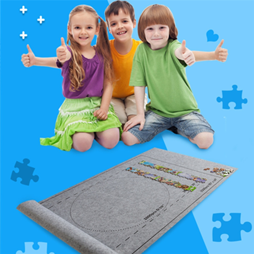 26x46 inch Felt Mat Portable Travel Puzzles Mat Jigsaw Roll Felt Mat Play Mat Puzzles Blanket For up to 1500/2000/3000 Pieces Puzzle Kids Toy Gift
