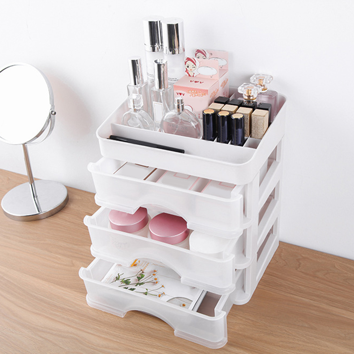 Plastic Cosmetic Drawer Makeup Organizer Storage Box Container Holder Desktop with Drawer