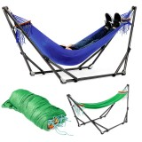 Portable Canvas Hammock Stand Portable Multifunctional Practical Outdoor Garden Swing Hammock Single Hanging Chair Bed Leisure Camping Travel