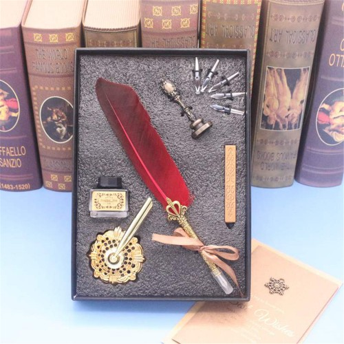 Vintage Feather Dip Ink Pen Set Quill Fountain Pen Calligraphy Writing Set Business Gift Box Office Supplies