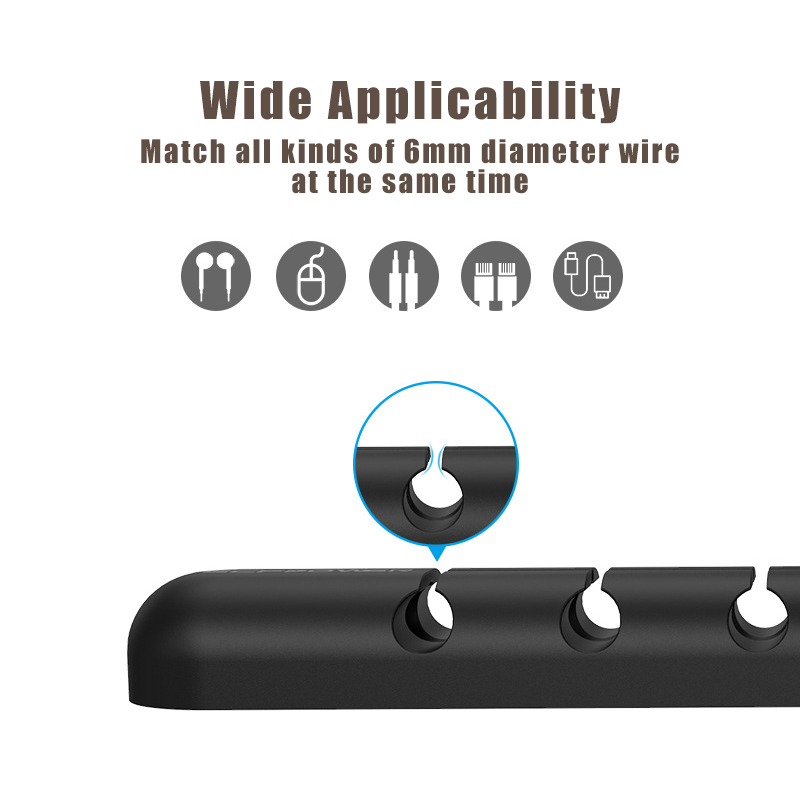 ECFPOWER Crossed 5-Channel Silicone Wire Clip Holder Earphone USB Cable Cord Winder Wrap Cable Organizer Management