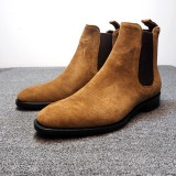 Men Leather Ankle Boots Chelsea Boots Dress Formal Casual Business High Top Slip On Shoes