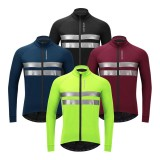 WOSAWE Winter Thermal Warm Fleece Men's Cycling Jacket Safety Reflective MTB Road Bicycle Windproof Bike Clothing