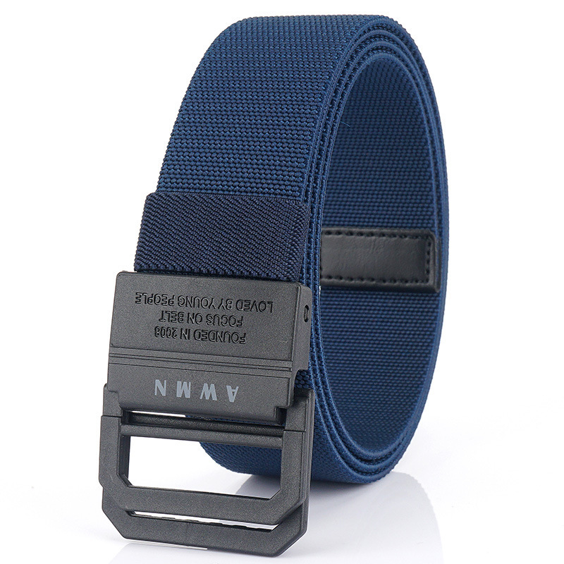 AWMN 125x3.8cm Double Ring Buckle Tactical Belt Quick Release Polyester Leisure Belt