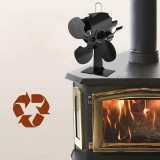 IPRee 4 Blade Fireplace Fan Self-Powered Wood Stove Fan Burner Stove Fan for Home Travel