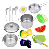 15Pieces Children Mini Kitchen Toy Cookware Pot Pan Kids Cook Play Toy Simulation Kitchen Utensils for Toys Children Gift
