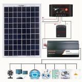 12V/24V DIY Solar System Kit Soalr Charge Controller 18V 20W Solar Panel 800W Solar Inverter Solar Power Generation Kit