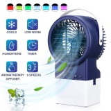 IPRee 4 in 1 3-Speeds Adjustable Air Conditioner Mist Purifier Humidifier Fan Portable Personal Air Cooler Desk Fan Quiet Circulation with 7 Colors Timing Lights for Outdoor Home Office