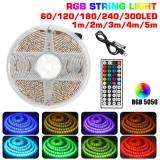 1M/2M/3M/4M/5M DC5V USB LED Strip Light Waterproof 5050 RGB Color Changing TV Backlight + 44Keys Remote Control