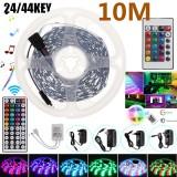 2*5M Non-waterproof RGB LED Strip Light 5050 SMD Flexible Tape Full Kit+24/44Key Remote Control+Plug DC12V Christmas Decorations Clearance Christmas Lights