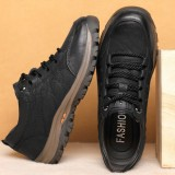 Fleece Winter Sports Running Shoes Men Leather Lace Up Sneakers Outdoor Cycling Hiking Athletic Shoes Sneakers