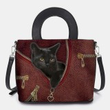 Women Faux Leather Cartoon Black Cat Pattern Multi-carry Handbag Crossbody Bag Satchel Bag