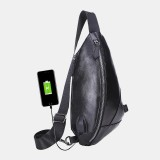 Men PU Leather USB Charging Waterproof Casual Crossbody Bag Chest Bag Sling Bag