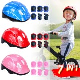 7 IN 1 Kids's Balance Bike Helmet Kits With Protect Knee Wrist Elbow Pads Roller Skating Protective Equipment For Toddlers 4-16 Years Old Children