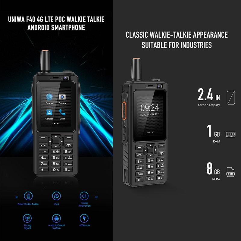 UNIWA F40 POC Walkie Talkie Rugged Phone P65 Waterproof Dustproof Shockproof, 4000mAh Battery, 2.4 inch Android 6.0, 1GB+8GB