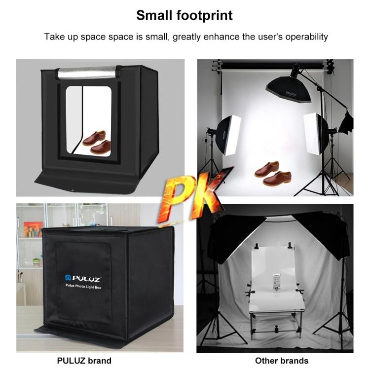 PULUZ 40cm Folding Portable 24W 5500K White Light Dimmable Photo Lighting Studio Shooting Tent Box Kit with 6 Colors Backdrops (EU Plug)