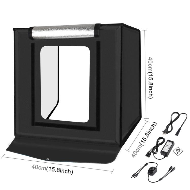 PULUZ PSE Certified 40cm Folding Portable 24W 5500K White Light Dimmable Photo Lighting Studio Shooting Tent Box Kit with 6 Colors Backdrops (US Plug)