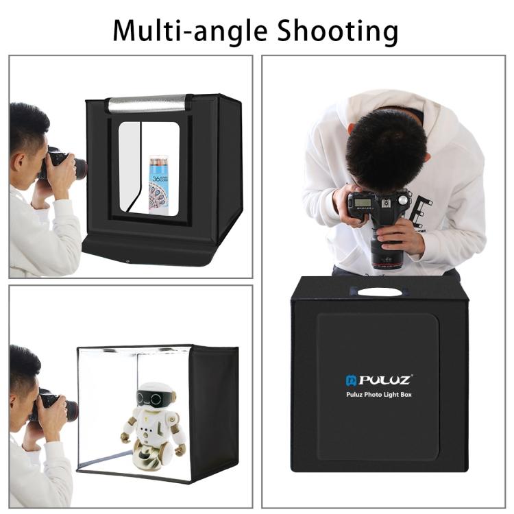 PULUZ 40cm Folding Portable 24W 5500K White Light Dimmable Photo Lighting Studio Shooting Tent Box Kit with 6 Colors Backdrops (US Plug)