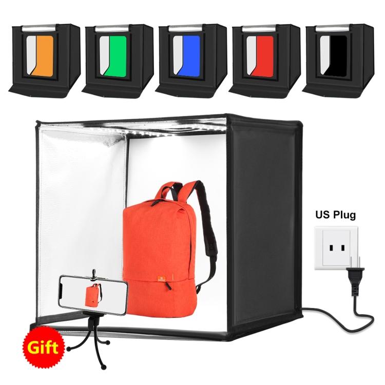 PULUZ Photo Studio Light Box Portable 60 x 60 x 60 cm Light Tent LED 5500K White Light Dimmable Mini 36W Photography Studio Tent Kit with 6 Removable Backdrop (US Plug)