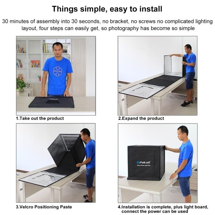 PULUZ PSE Certified Photo Studio Light Box Portable 60 x 60 x 60 cm Light Tent LED 5500K White Light Dimmable Mini 36W Photography Studio Tent Kit with 6 Removable Backdrop (US Plug)