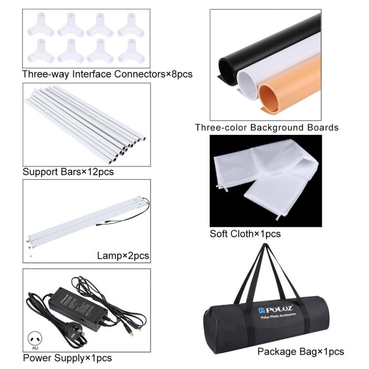 PULUZ 80cm Folding Portable 80W 8500LM White Light Photo Lighting Studio Shooting Tent Box Kit with 3 Colors Backdrops (AU Plug)