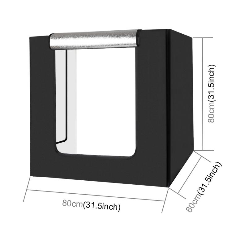 PULUZ 80cm Folding Portable 80W 8500LM White Light Photo Lighting Studio Shooting Tent Box Kit with 3 Colors (US Plug)