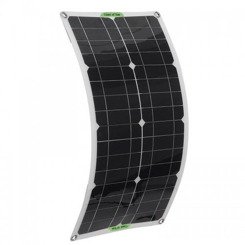 250W Portable Solar Panel Kit Dual DC USB Charger Kit Single Crystal Semi-flexible Solar Power Panel w/ 60A/100A Solar Controller