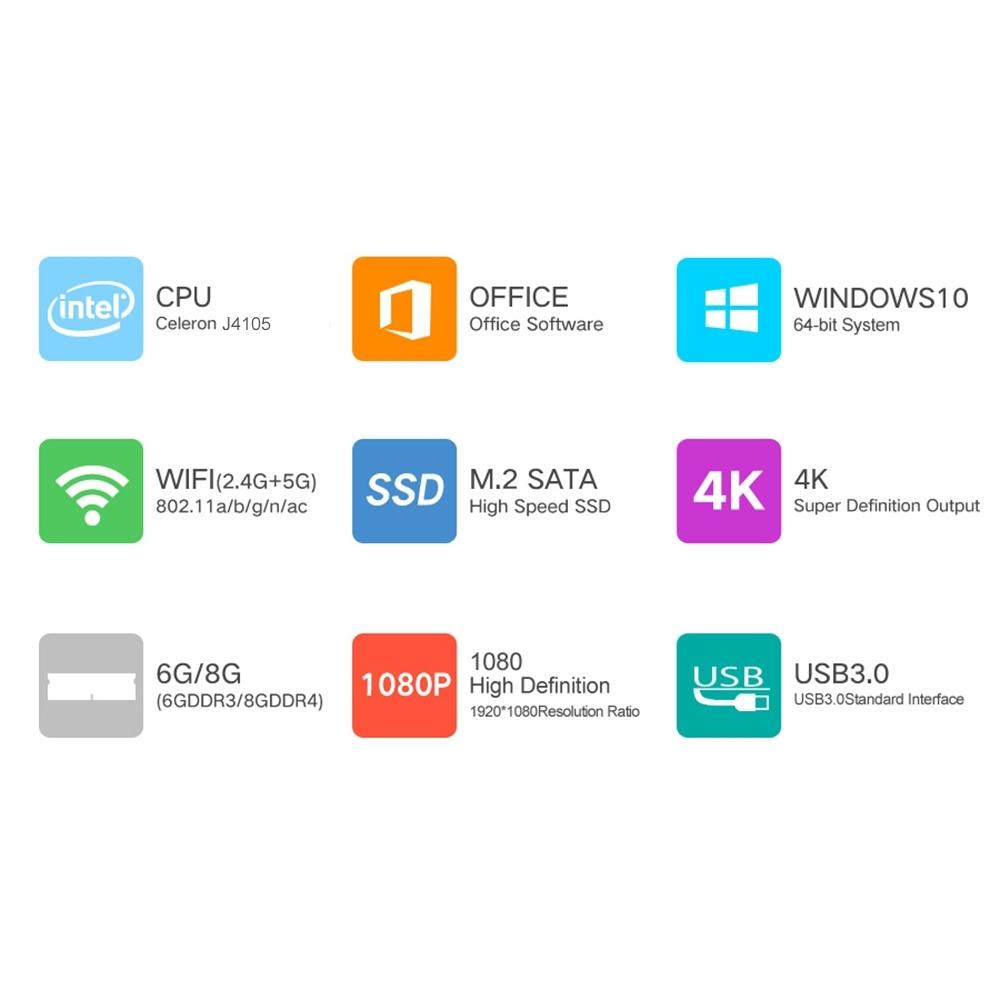 CENAVA F151 Ultrabook, 15.6 inch, 8GB+512GB Windows 10 Intel Celeron J4105 Quad Core Up to 2.5GHz, Support TF Card & Bluetooth & Dual WiFi & Mini HDMI