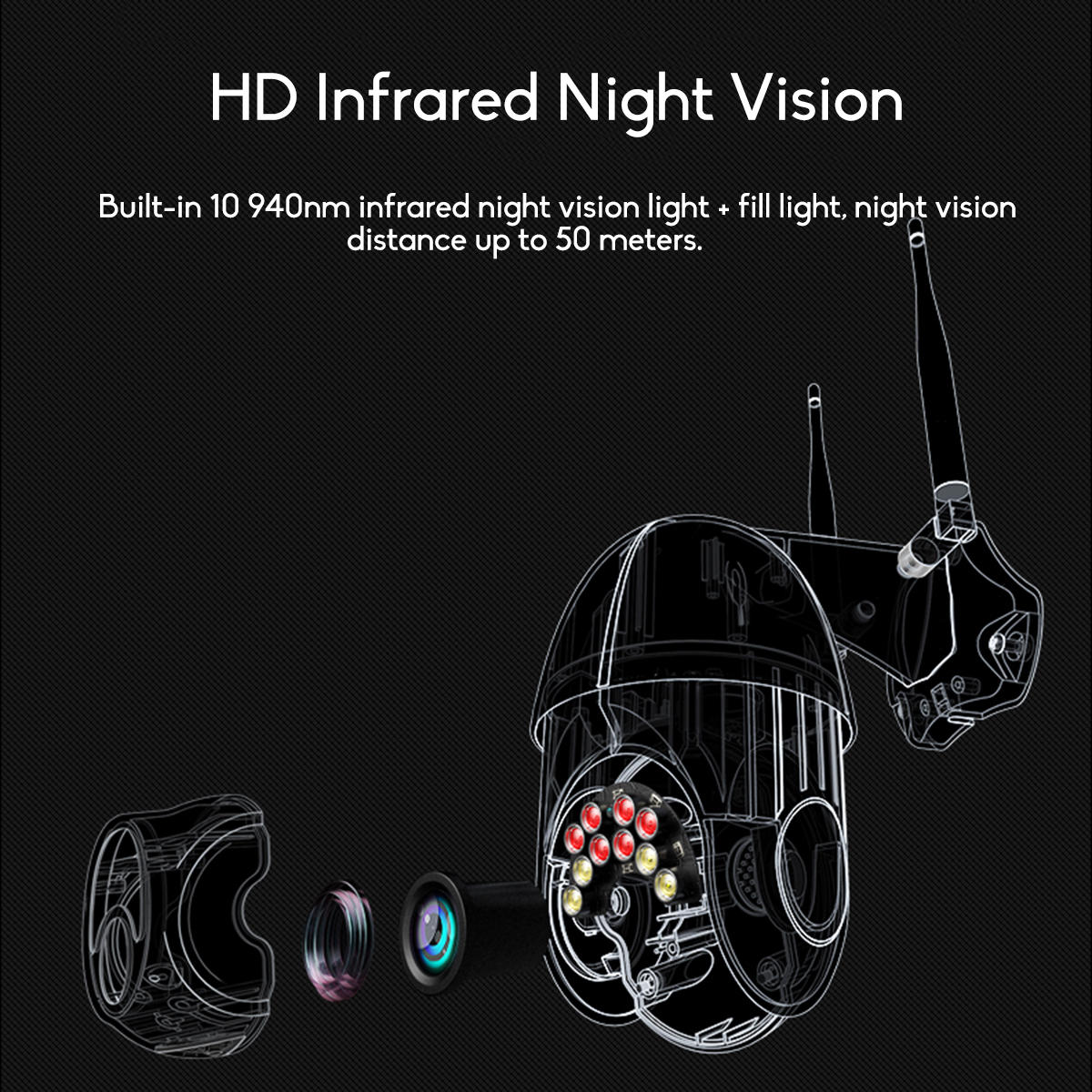 GUUDGO 10LED 5X Zoom HD 2MP IP Security Camera WiFi Wireless 1080P Outdoor PTZ Waterproof Night Vision ONVIF