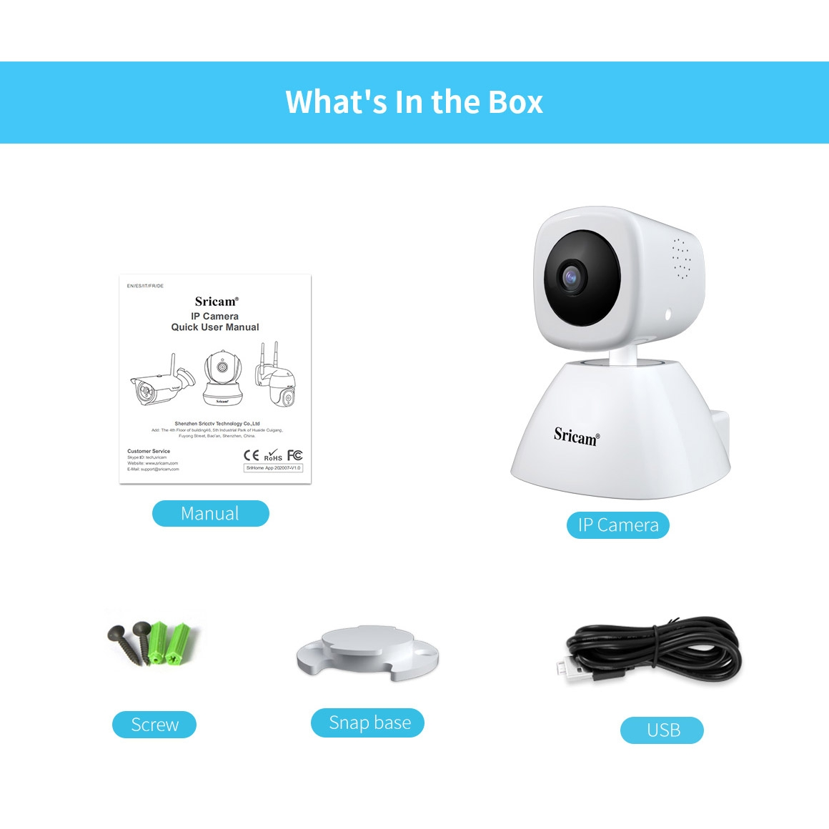 Sricam SP026 1080P AI Smart WiFi Camera, Support Two Way Audio / Motion Tracking / Humanoid Detection / Night Vision / TF Card