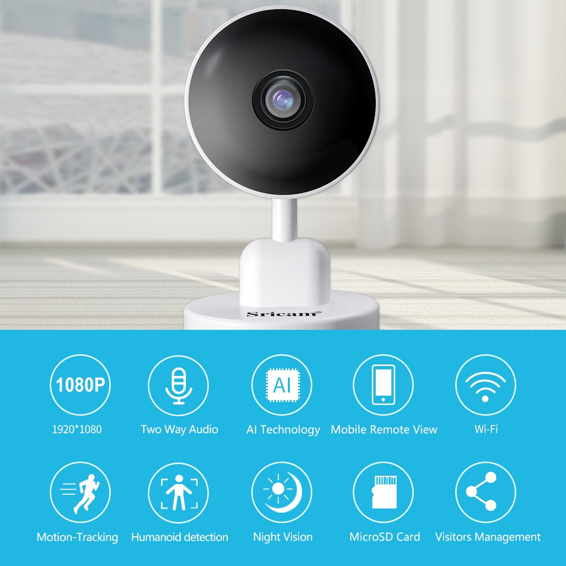 Sricam SP027 1080P AI Smart WiFi Camera, Support Two Way Audio / Motion Tracking / Humanoid Detection / Night Vision / TF Card