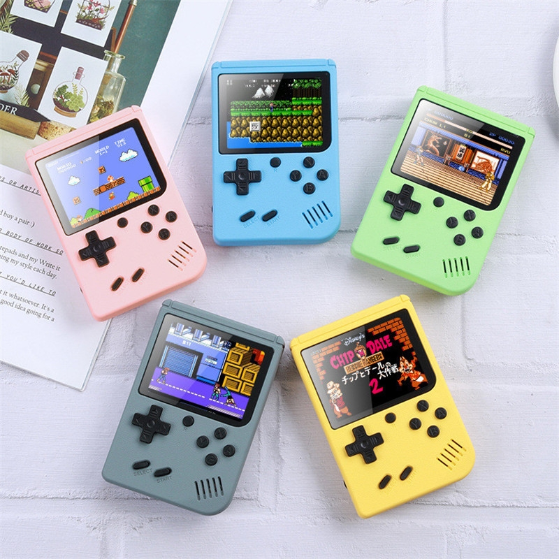 MK800 3.0 inch Macaron Mini Retro Classic Handheld Game Console for Kids Built-in 800 Games, Support AV Output (Grey)