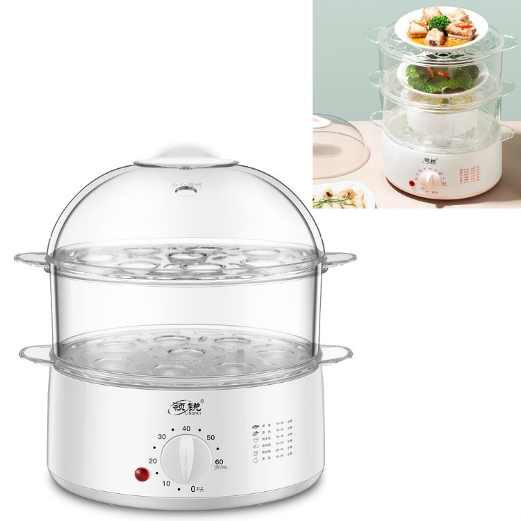 LINGRUI Timer Mini Multi-Function Egg Cooker Automatic Power Off Home Breakfast Machine Double Layers, CN Plug (Grey)