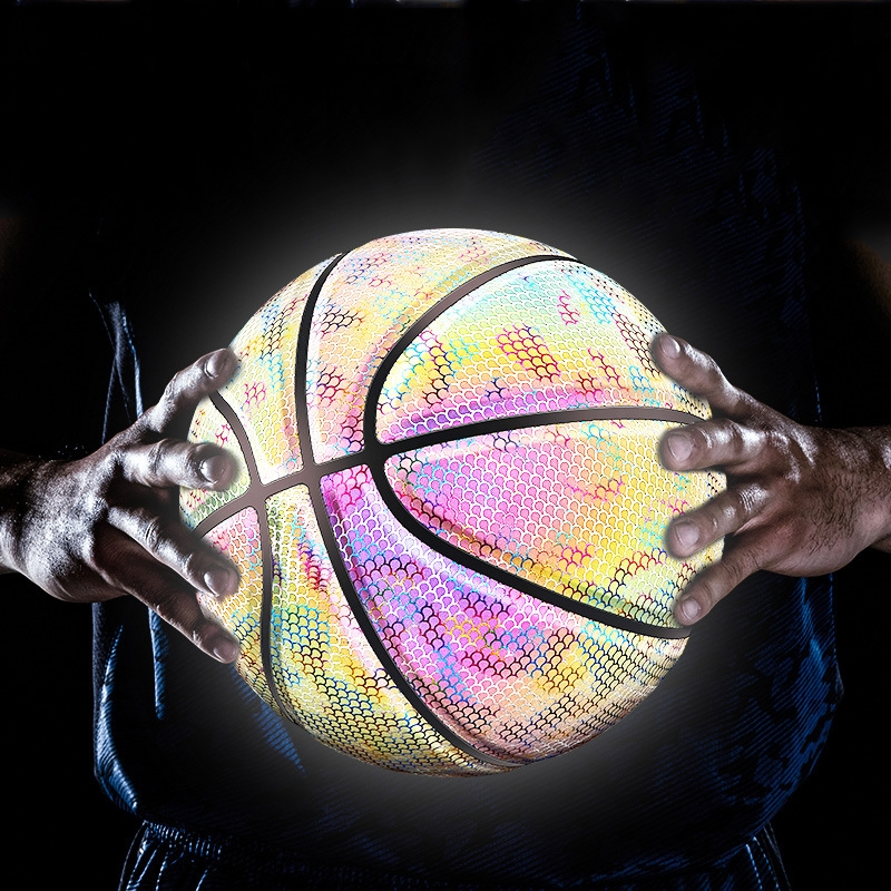 MILACHIC Number 7 Holographic Reflective Basketball Visible at Night Rainbow Star Basketball (Neon Red Lingge 6705)
