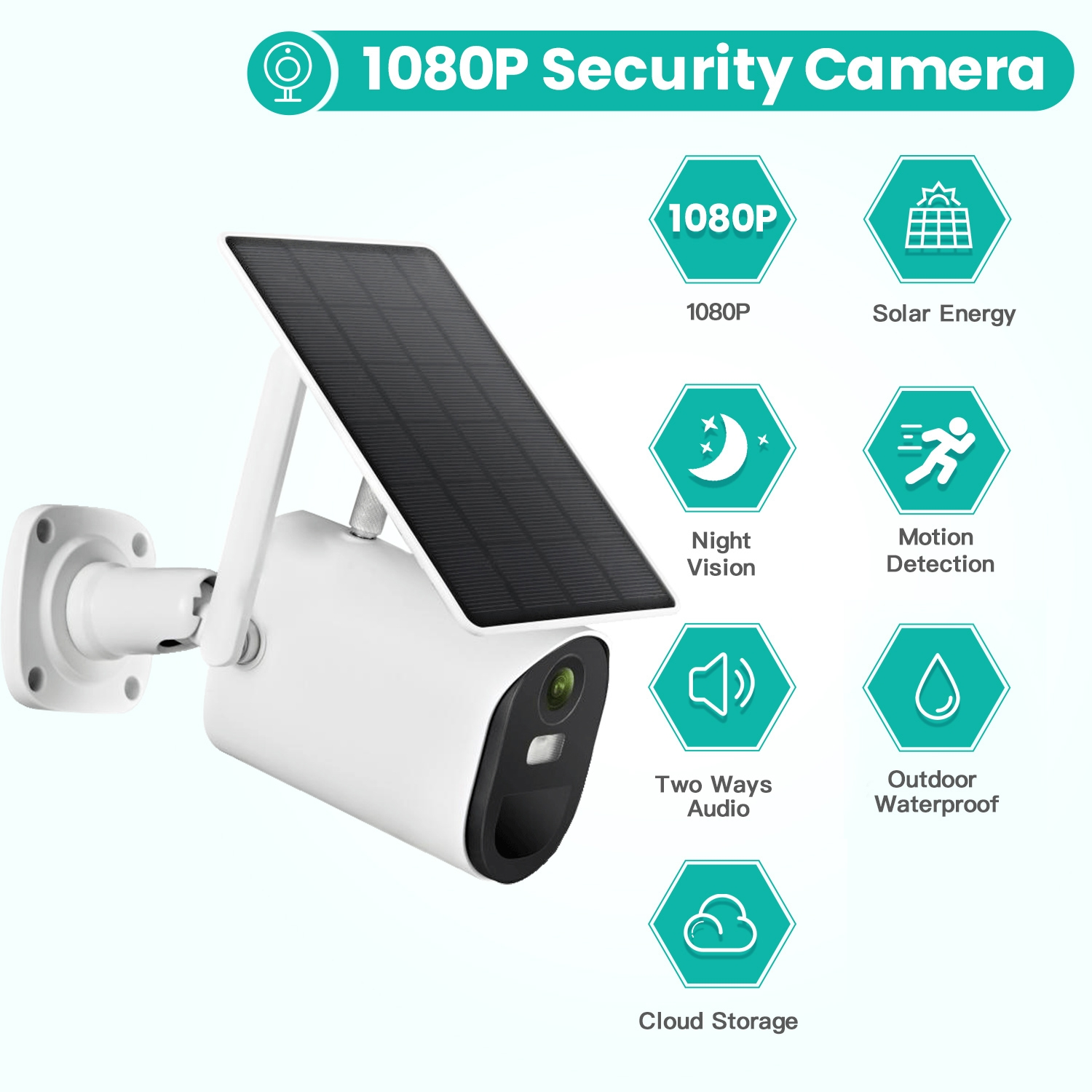 T20 1080P Full HD 4G Solar Powered Camera, Support PIR Human Body Infrared Sensor, Night Vision, Two Way Audio, TF Card