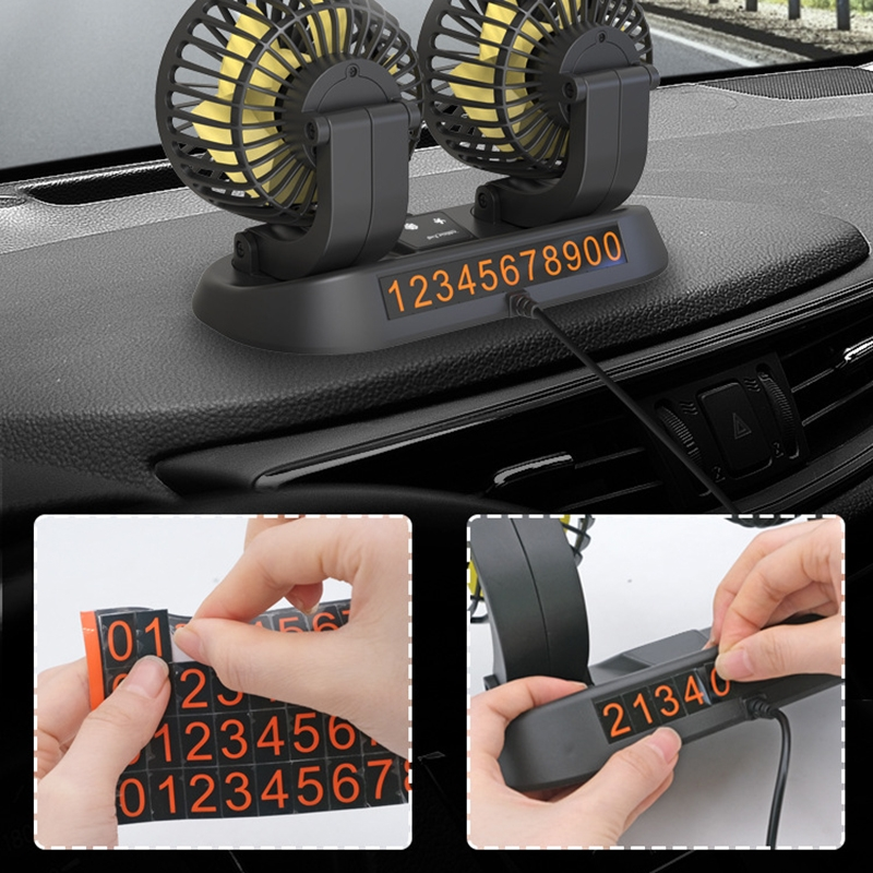 F410 12V Car Dual-head Folding Electric Cooling Fan with Temporary Temporary Parking Card