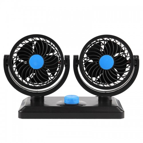 Car Fan Portable Mini Adjustable Car Double-Headed Electric Fan, Colour: Blue 12V