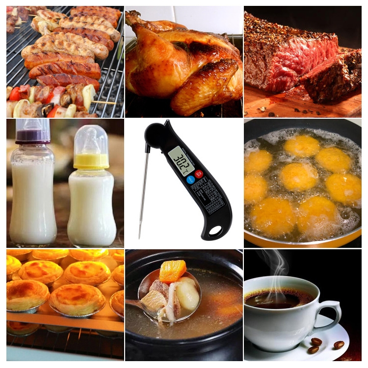 TS-BY54 Kitchen Food Cooking BBQ Foldable Waterproof Probe Thermometer (Black)