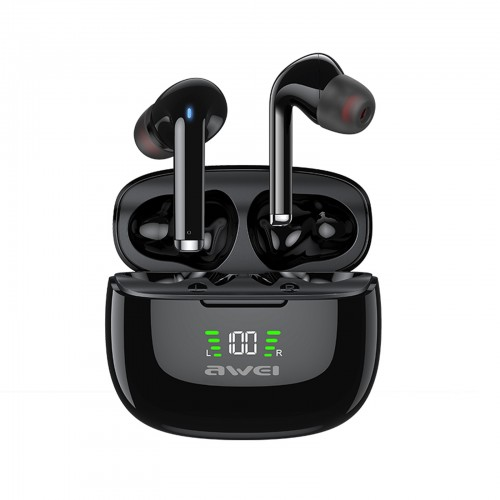 awei TA8 Bluetooth 5.2 ANC Active Noise Reduction Wireless Bluetooth Earphone (Black)
