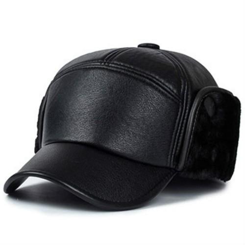 Men Casual Leather Warm Bomber Hats (Black Fur)