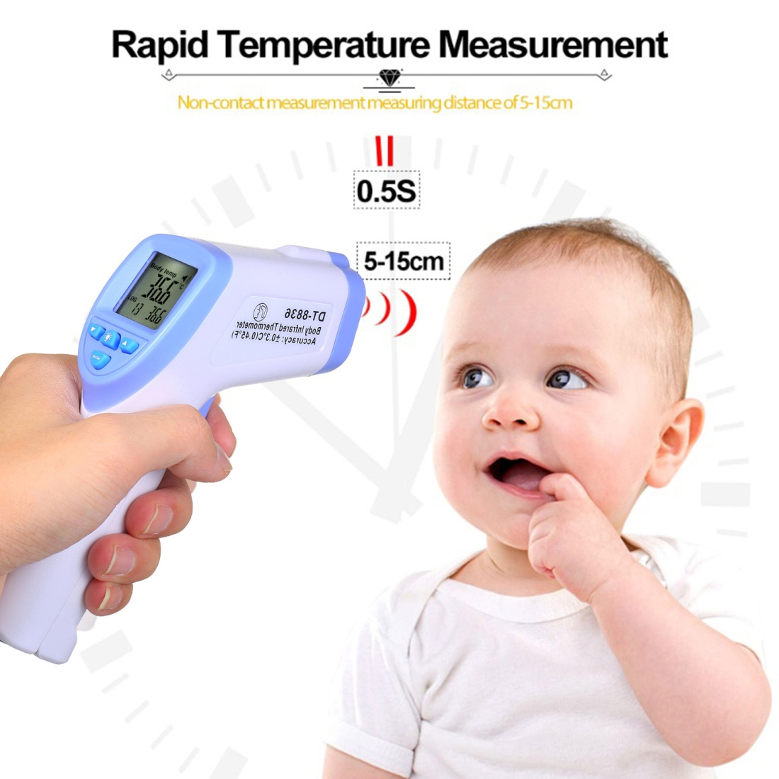 DT-8836 Non-contact Forehead Body Infrared Thermometer, Temperature Range: 32.0 Degree C - 42.5 Degree C