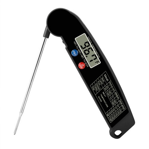TS-BY52-B Kitchen Food Cooking BBQ Foldable Waterproof Probe Thermometer (Black)